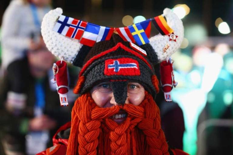 <p>SOCHI, RUSSIA - FEBRUARY 09: A Norway fan dressed as a viking smiles ahead of the medal ceremony on day 2 of the Sochi 2014 Winter Olympics at Medals Plaza on February 9, 2014 in Sochi, .  (Photo by Streeter Lecka/Getty Images)</p>