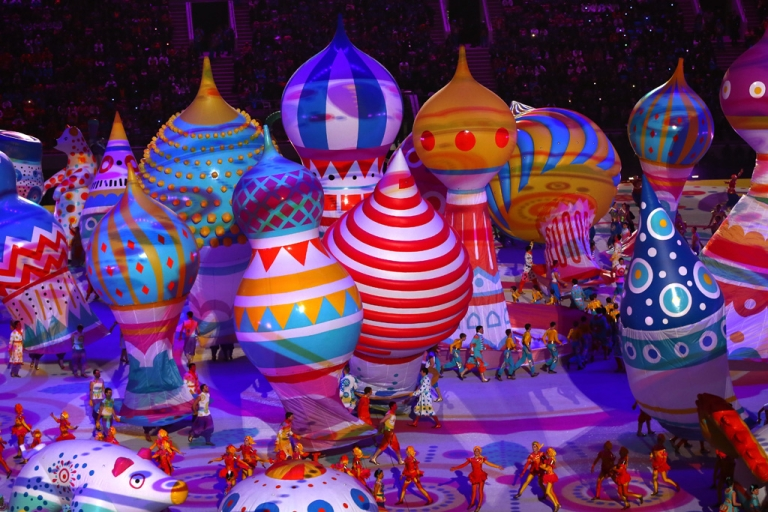 <p>Dancers perform with inflated objects during the Opening Ceremony of the Sochi 2014 Winter Olympics at Fisht Olympic Stadium on February 7, 2014 in Sochi, Russia.</p>