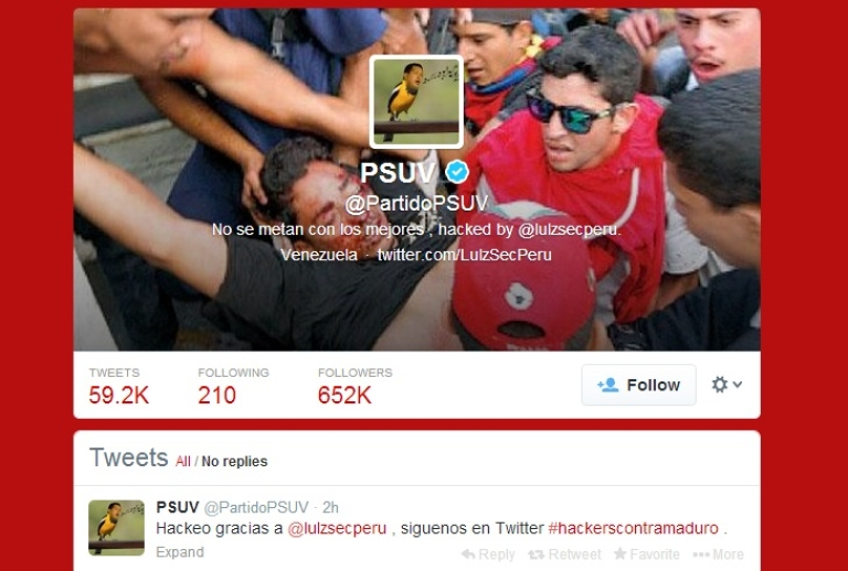 <p>A screengrab of the United Socialist Party of Venezuela's official Twitter after hackers belonging to LulzSecPeru gained control of the account over the weekend.</p>