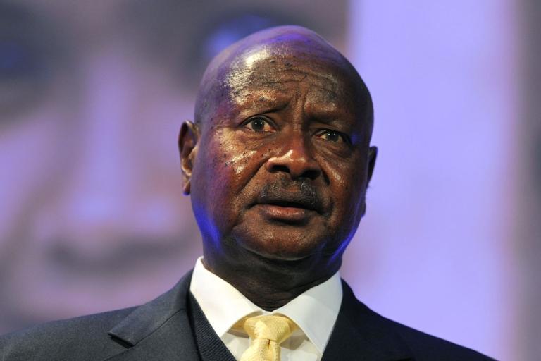 <p>Ugandan President Yoweri Museveni speaks during the London Summit on Family Planning on July 11, 2012 in England.</p>