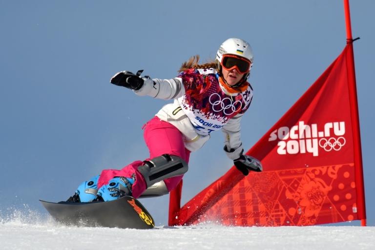 <p>Annamari Chundak of Ukraine competes in the Snowboard Ladies' Parallel Giant Slalom Qualification on Feb. 19, 2014 in Sochi, Russia.</p>