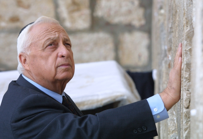 <p>Ariel Sharon as Israeli Prime Minister-elect at the Western Wall on February 7, 2001, the day after his landslide win over Ehud Barak. Barak had made a similar visit the day after he defeated Benjamin Netanyahu 21 months prior.</p>