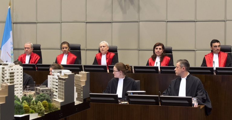 <p>Judges Walid Akoum, Janet Nosworthy, David Re, Micheline Braidy and Nicola Lettier preside over the first hearing in the trial of four people accused of murdering former Lebanese premier Rafiq Hariri at the Special Tribunal for Lebanon in The Hague.</p>