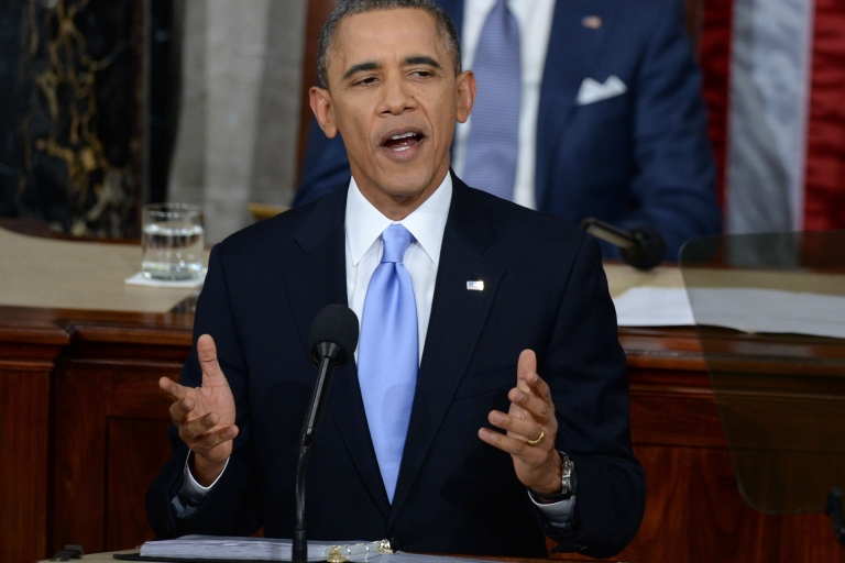 <p>President Barack Obama delivers his State of the Union address before a joint session of Congress on Jan. 28, 2014, in Washington, DC.</p>