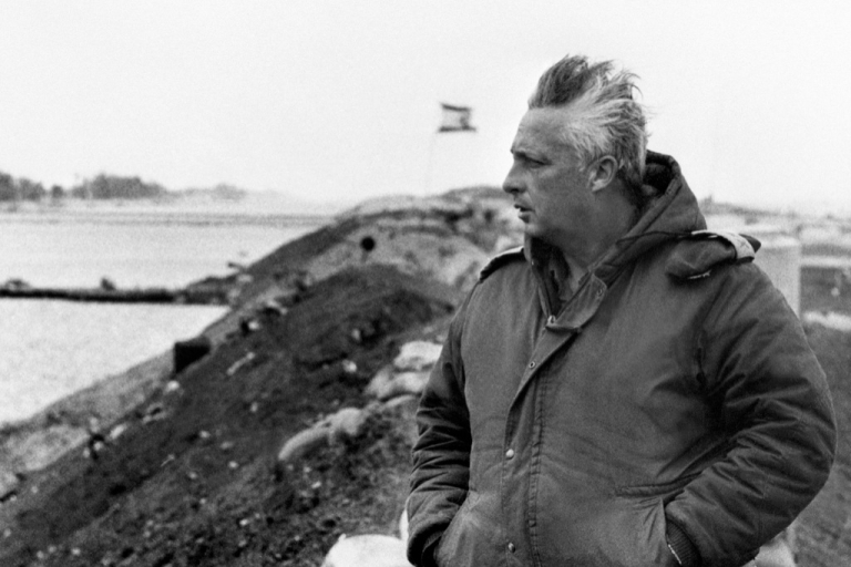 <p>A photo taken in January 1974 on the right bank of the Suez Canal shows Israeli general Ariel Sharon a few days before he left the army to become a politician.</p>