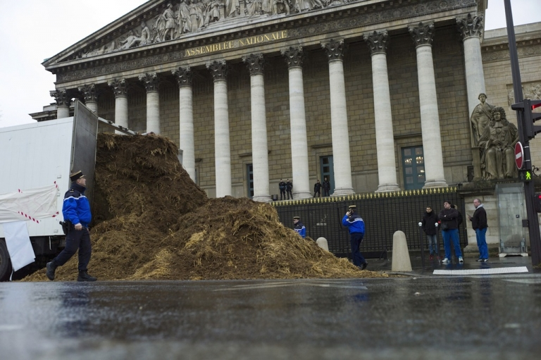 <p>French police stand around a pile of horse dung that was dumped outside the national parliament building in Paris on Thursday.</p>