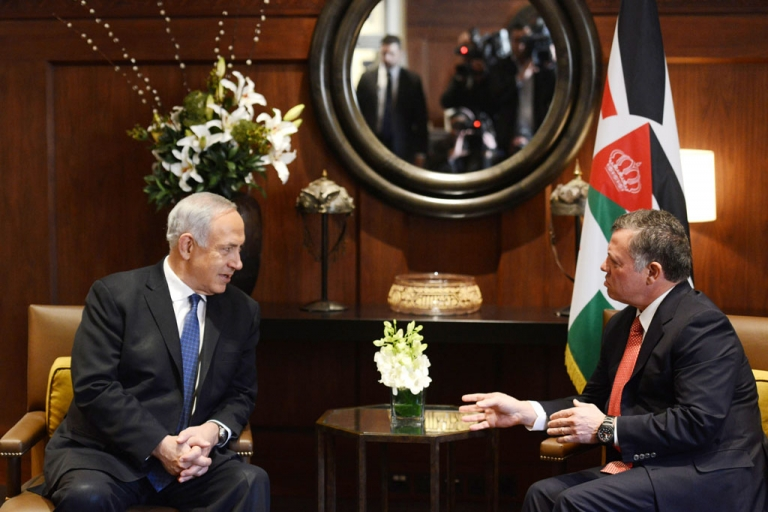 <p>In this handout image supplied by the Israeli Government Press Office (GPO), Prime Minister Benjamin Netanyahu meets Jordan's King Abdullah II, during a visit to Amman, Jordan on Jan. 16, 2014.</p>