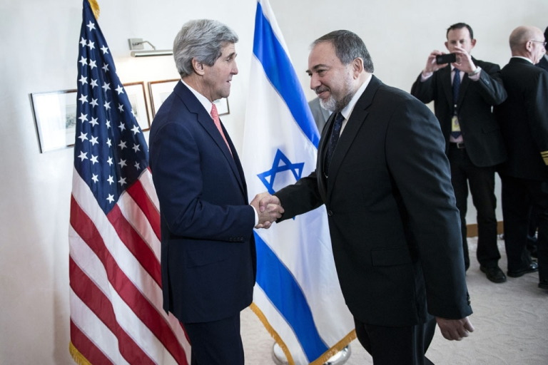 <p>US Secretary of State John Kerry, left, greets Israeli Foreign Minister Avigdor Lieberman ahead of their meeting at the David Citadel hotel on January 3, 2014 in Jerusalem.</p>