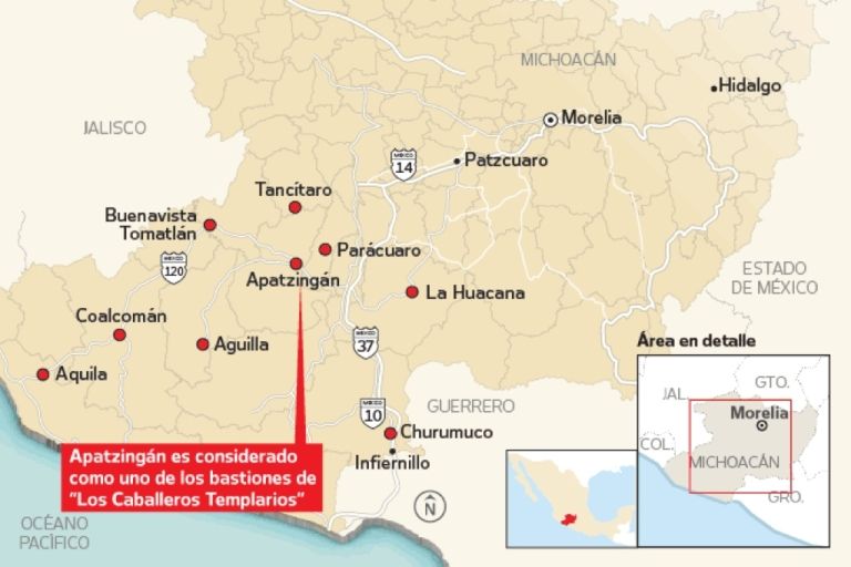 <p>Self-defense groups have surged in western Mexico's Michoacan state, fighting gangs in at least 70 communities in 25 municipalities. (The Spanish text says