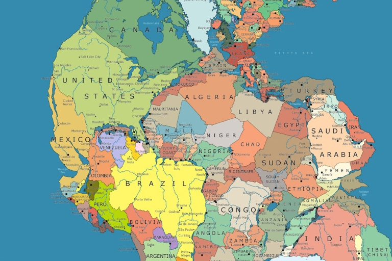 <p>A slice of Pangea, the supercontinent that formed 300 million years ago, with today's geopolitical boundaries drawn in. From: <a href=
