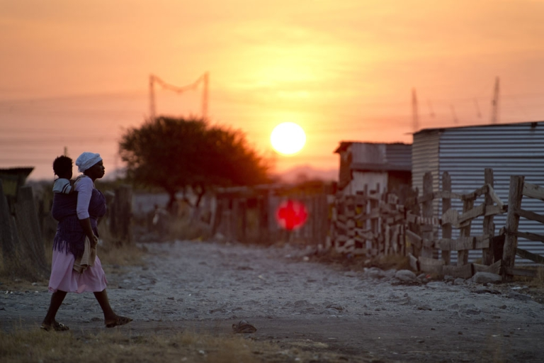 <p>The shanty town of Nkaneng next to Lonmin's platinum smelter in Marikana on July 9, 2013.</p>