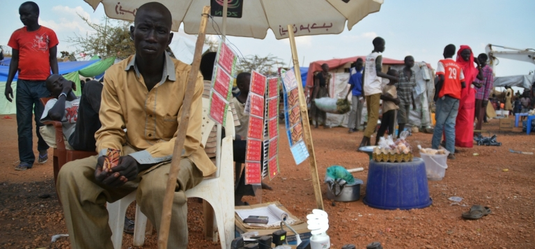 <p>Credit cards for sale at a United Nations displaced persons' camp in Juba, South Sudan.</p>