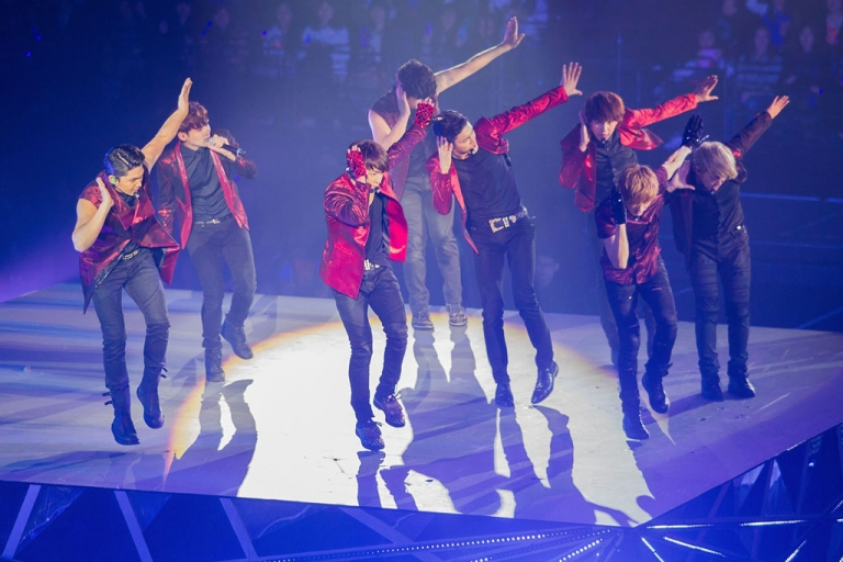 <p>South Korean boy band Super Junior performs live on November 30, 2013 in Macau.</p>