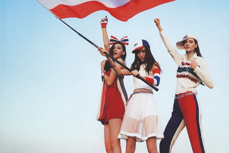 <p>Models draped in protest garb pose for one of Thailand's leading fashion magazines, Image, which has depicted a crusade to topple the government as glamorous and sexy.</p>