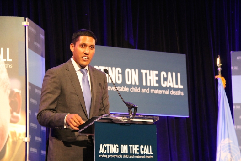<p>US Agency for International Development Administrator Rajiv Shah in Washington, D.C. on June 25, 2014, where he announced more than $600 million in partnerships with private organizations including corporations Coca-Cola and Johnson &amp; Johnson. (Courtesy: USAID)</p>