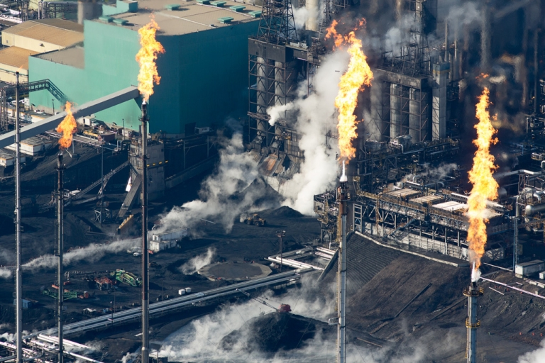 <p>Gas flares at the Suncor Oil Sands Mining Site.</p>