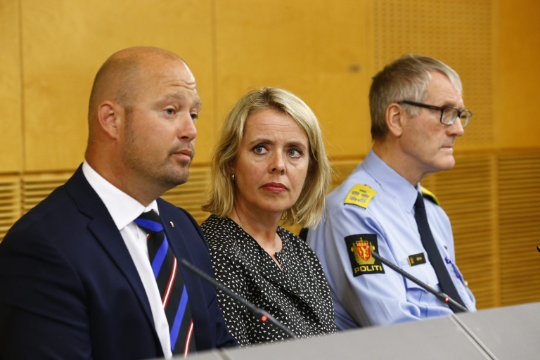 <p>Minister of Justice and Public Security, Anders Anundsen (L), the head of the Norwegian intelligence service, Benedicte Bjoernland, and head of the police Vidar Refvik. Norway has taken exceptional security measures after being informed of a possible imminent 'terrorist' attack by militants who have fought in Syria, the country's intelligence chief said Thursday.</p>