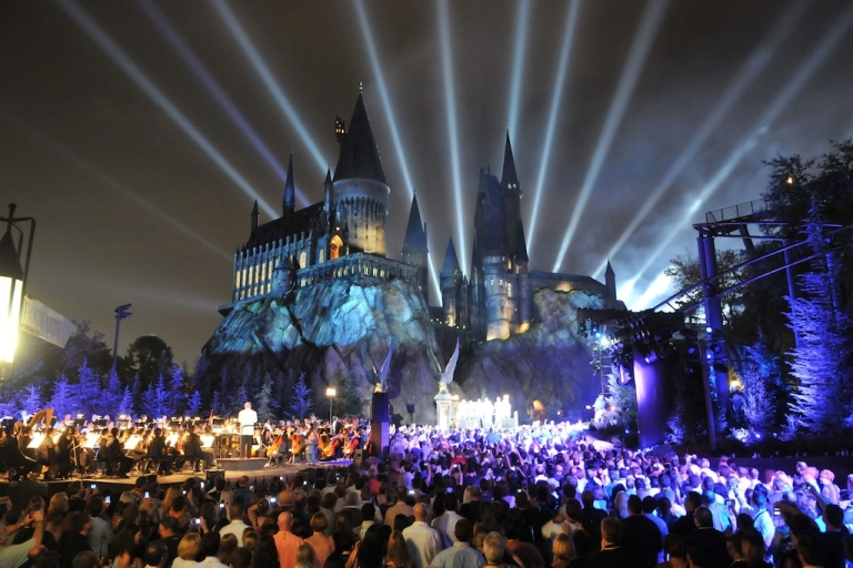 <p>In this handout image provided by Universal Orlando Resort, The Wizarding World of Harry Potter kicked off its grand opening celebration with help from 'Harry Potter' film stars Tom Felton, Michael Gambon, Bonnie Wright, Oliver Phelps, Daniel Radcliffe, Matthew Lewis, Warwick Davis, Rupert Grint and James Phelps on June 16, 2010 in Orlando, Florida.</p>