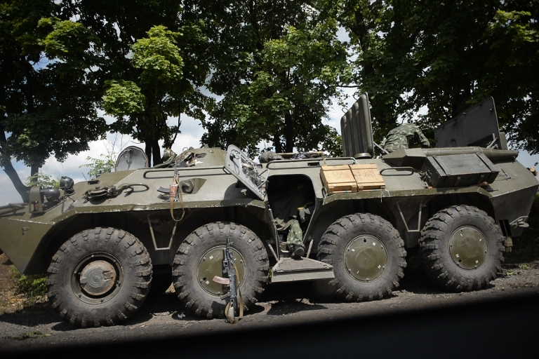 <p>A Ukrainian soldier atop an armored personnel carrier near the eastern Ukrainian city of Slovyansk.</p>