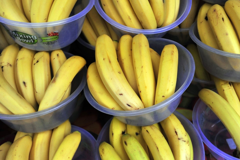 <p>Bananas on sale at a market in London.</p>