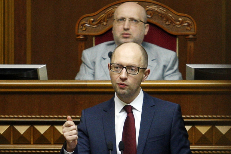 <p>Ukrainian Prime Minister Arseniy Yatsenyuk addresses the Parliament in Kiev on June 17, 2014 on the results of the gas talks with Russia.</p>