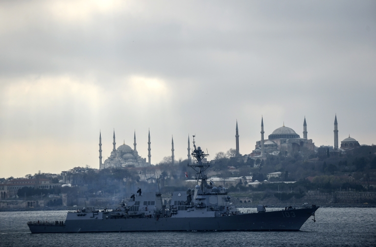 <p>The 'USS Truxtun' destroyer passes the Bosphorus Strait on March 7, 2014.</p>