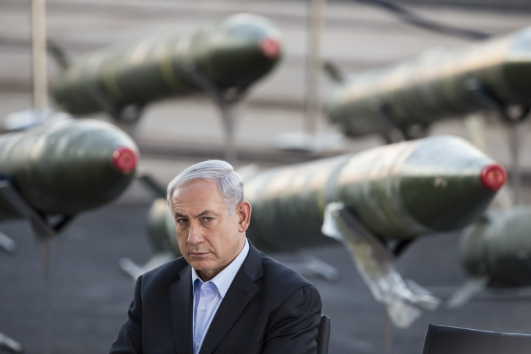<p>Israeli Prime Minister Benjamin Netanyahu speaks to the press, as Israel displayed advanced rockets unloaded from the Panamanian-flagged Klos-C vessel. The vessel was allegedly transporting arms from Iran to Gaza.</p>