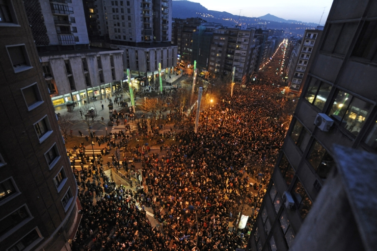 <p>People march during a demonstration called by several Basque political parties, trade unions and social groups in the city of Bilbao on Jan. 11, 2014 .</p>