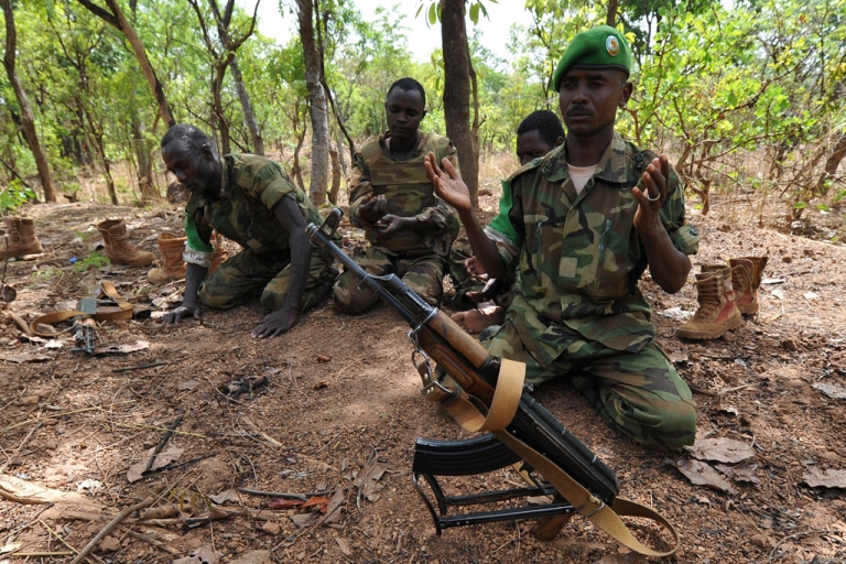 <p>A picture taken on March 6, 2014 shows Chadian soldiers serving with the African-led MISCA force praying in Bossangoa.</p>