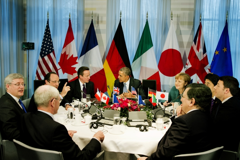 <p>Meeting of the G7 leaders on March 24, 2014 in The Hague, Netherlands.</p>