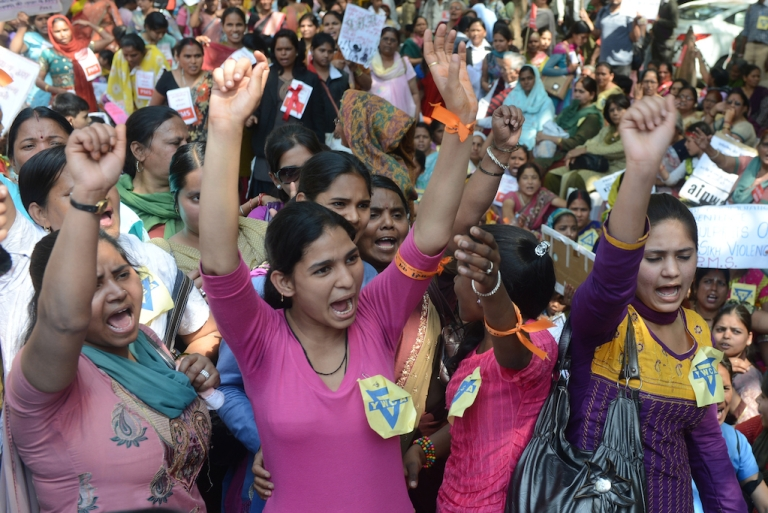 <p>Indian women march to parliament on International World Women's day in March 2013, demanding death to five men who raped and killed a student in a bus in December 2012. Whether or not the outrage has permanently changed India, it has clearly changed India's wildly popular telenovelas.</p>