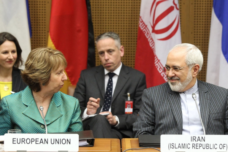 <p>Catherine Ashton (L), High Representative of the Union of Foreign Affairs and Security Policy for the European Union, and Iranian Foreign Minister Mohammad Javad Zarif attend the first day of the second round of P5+1 talks with Iran at the UN headquarters in Vienna, Austria on March 18, 2014.</p>