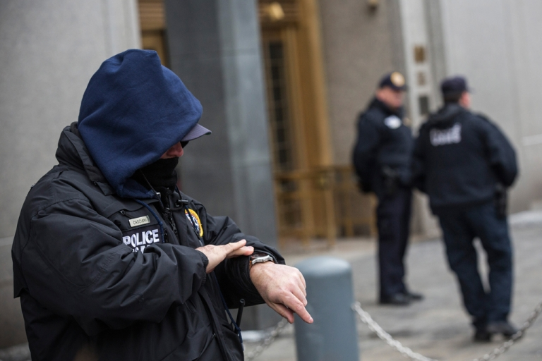 <p>Security guards stand outside Federal Court as the trial for Osama Bin Laden's son-in-law, Sulaiman Abu Ghaith, begins on March 3, 2014 in New York City.</p>