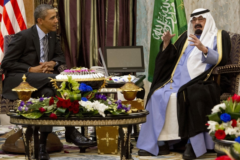 <p>US President Barack Obama (L) meets with Saudi King Abdullah (R) at Rawdat Khurayim, the monarch's desert camp 60 KM (35 miles) northeast of Riyadh, on March 28, 2014.</p>