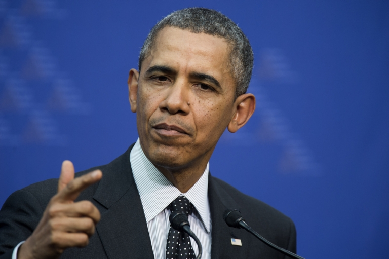 <p>US President Barack Obama speaks during a press conference in The Hague, Netherlands, on March 25, 2014.</p>