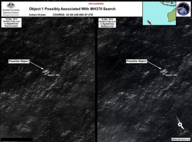 <p>Satellite imagery provided to Australian Maritime Safety Authority (AMSA) of objects that may be possible debris of the missing Malaysia Airlines Flight MH370 in a revised area 185 km (115 miles) to the south east of the original search area in this picture released by AMSA March 20, 2014.</p>