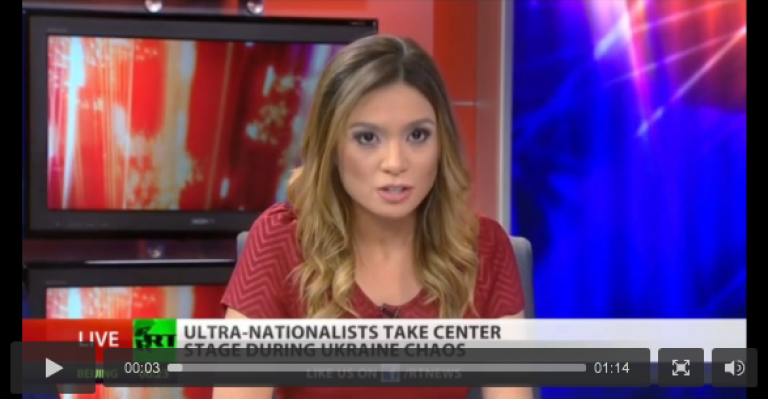 <p>Russia Today anchor Liz Wahl quit during a live broadcast on March 5, 2013.</p>