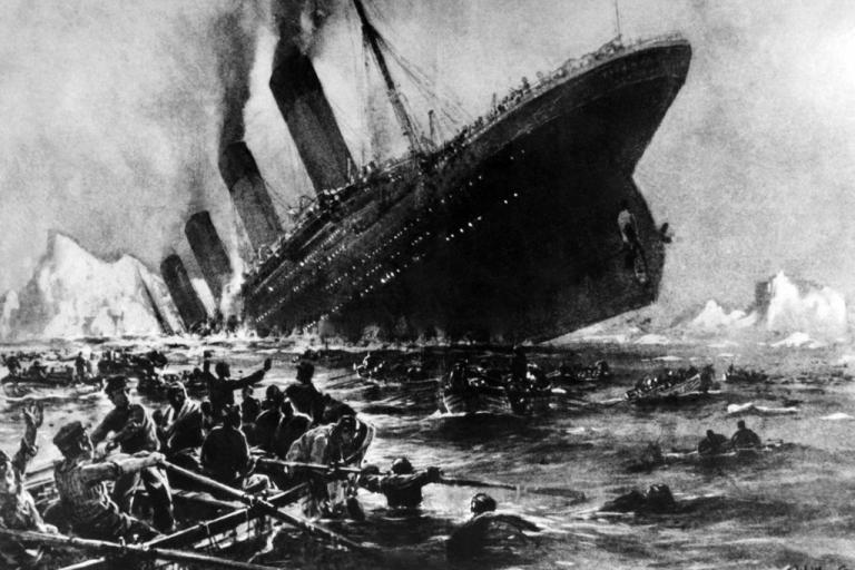 <p>Undated artist impression showing the April 14, 1912 shipwreck of the British luxury passenger liner Titanic off the Nova-Scotia coast.</p>