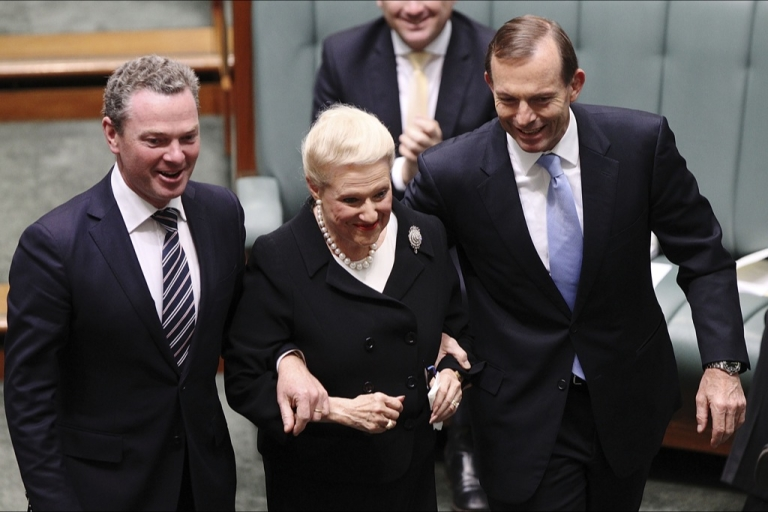 <p>They aren't always like this: Christopher Pyne and Tony Abbott escort Bronwyn Bishop to her chair in the House of Representatives.</p>