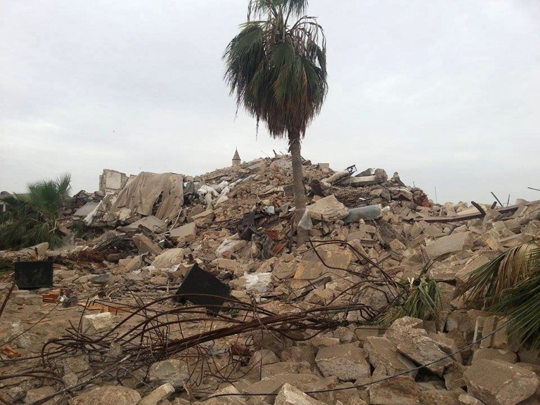 <p>Debris lying on the ground following an explosion at luxury hotel turned army base in the historic heart of Aleppo</p>