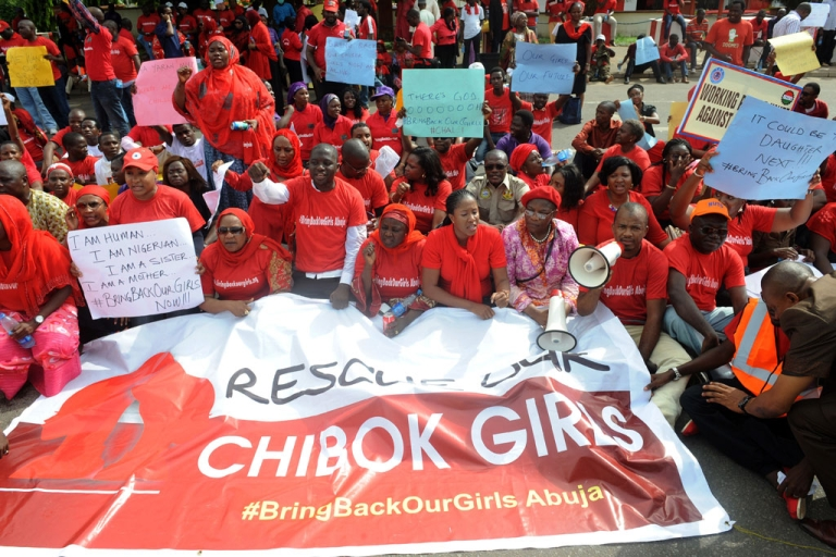 <p>Members of civil society groups protest the abduction of Chibok schoolgirls in Abuja on May 6, 2014.</p>