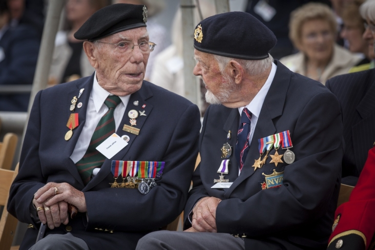 <p>Veterans Charles Jeffries and Richard Llewellyn aboard the HMS Belfast for the 70th anniversary D-Day commemorations on May 20, 2014 in London, England.</p>