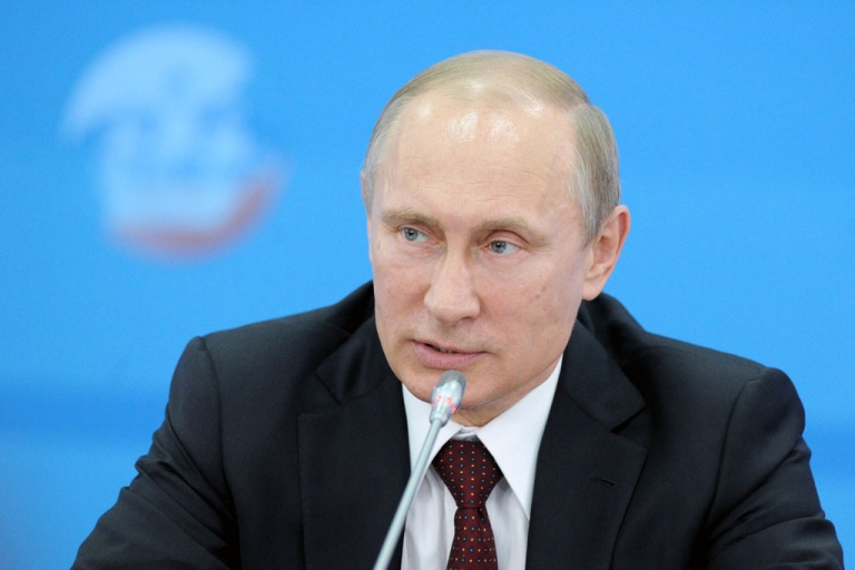 <p>Russia's President Vladimir Putin speaks at the St. Petersburg International Economic Forum 2014 on May 24, 2014.</p>