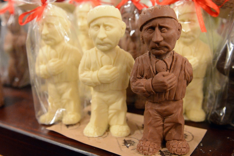 <p>Chocolate figurines depicting Russian President Vladimir Putin are on sale in a store of Lviv Workshop of Chocolate, on May 15, 2014 in the historical tourists center of the western Ukrainian city of Lviv. AFP PHOTO/ YURIY DYACHYSHYN        (Photo credit should read YURKO DYACHYSHYN/AFP/Getty Images)</p>