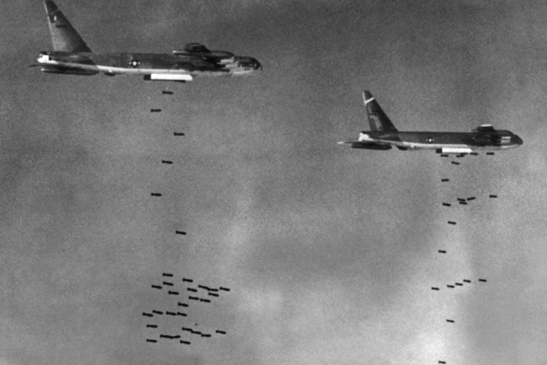 <p>US B52 drop bombs over a Viet Cong controlled area in South Vietnam 02 August 1965 during the Vietnam War.</p>