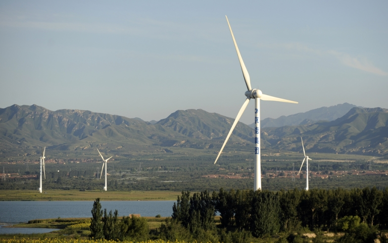 <p>This picture taken on Aug. 25, 2010 shows a windfarm on the outskirts of Beijing.</p>
