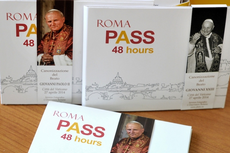 <p>The special edition of a tourist card allowing access to monuments, museums and archaeological sites to be used this weekend when Popes John Paul II and John XXIII will be made saints at an unprecedented joint ceremony on April 27, 2014. The canonizations of two popular popes are set to bring hundreds of thousands of pilgrims to Rome.</p>