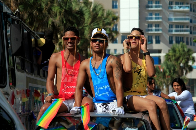 <p>Revelers in the Dominican Republic capital of Santo Domingo take part in a gay pride parade. But in other Caribbean countries like Belize, meanwhile, harsh British colony-era anti-gay laws remain in place.</p>