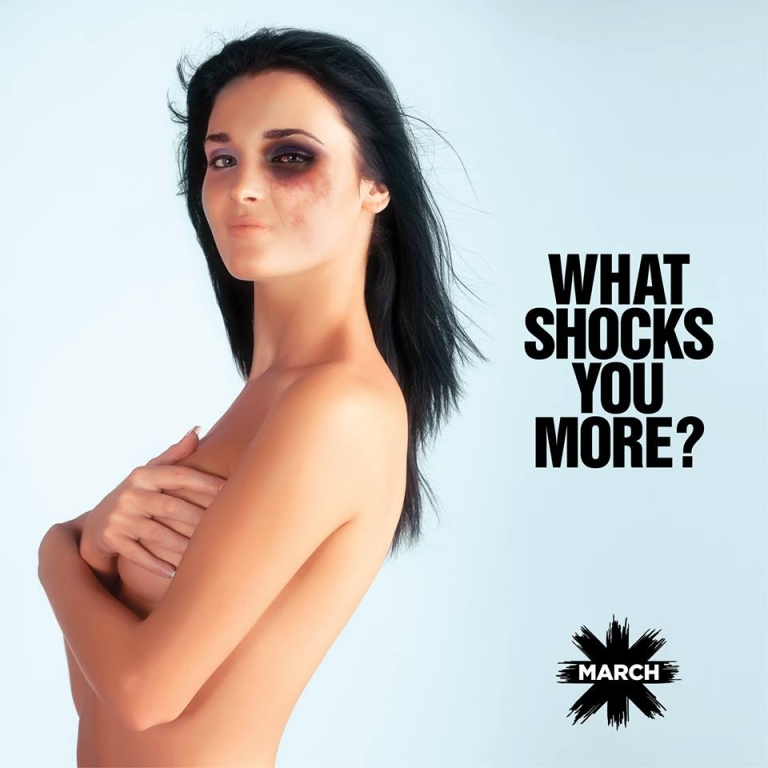 "<p>Lebanese NGO March is circulating this photo with the slogan, ""NUDITY IS A PERSONAL CHOICE...GETTING BEATEN UP IS NOT.""</p>"