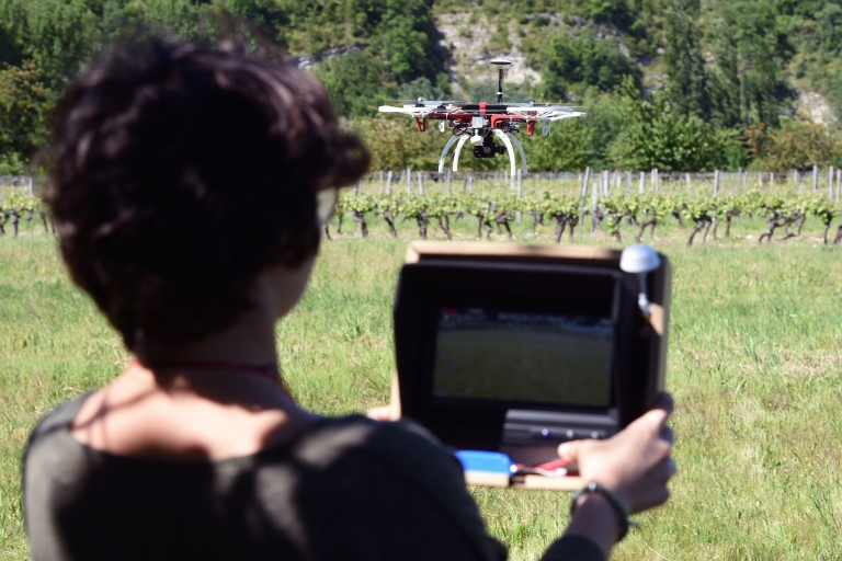 <p>A photography vocational high school student learns to fly a drone near Cahors, southern France. Nine students from the Saint-Etienne high school studying photography for a vocational diploma have taken a drone piloting class and they will receive a drone piloting diploma from the French civilian aviation body.</p>